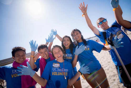 Students are happy after beach clean up event